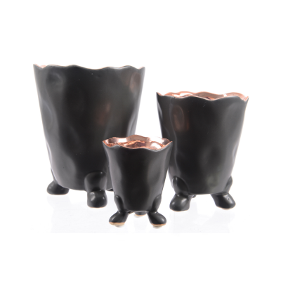 Кашпо керамика черное