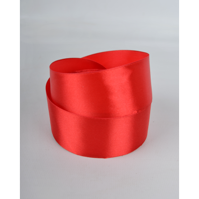 Лента атласная 4 см красный