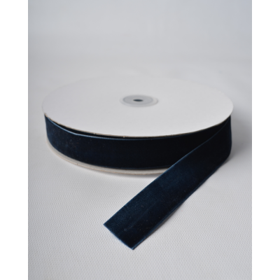 Лента бархатная 2,5 см темно-синяя RD