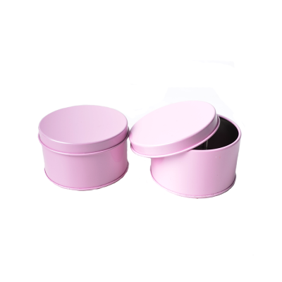 Коробка круглая металлическая розовая