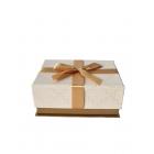 Коробка прямоугольная с бантом золотая