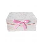 Коробка подарочная прямоугольная бежево-розовая
