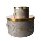 Коробка подарочная круглая серо-золотая