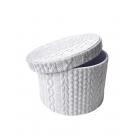 Коробка круглая текстиль серая