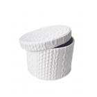 Коробка круглая текстиль белая