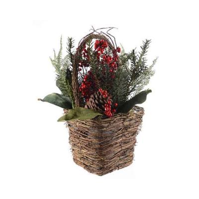 Декоративная корзина новогодняя
