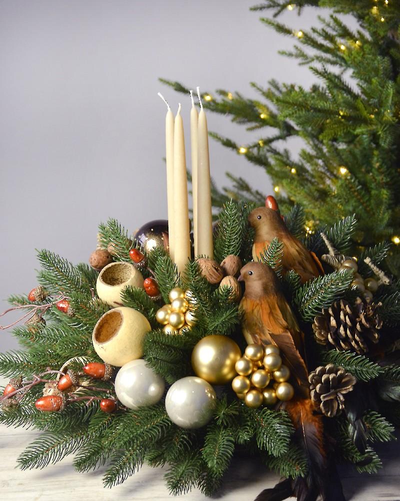 Новогодняя композиция на праздничный стол или камин